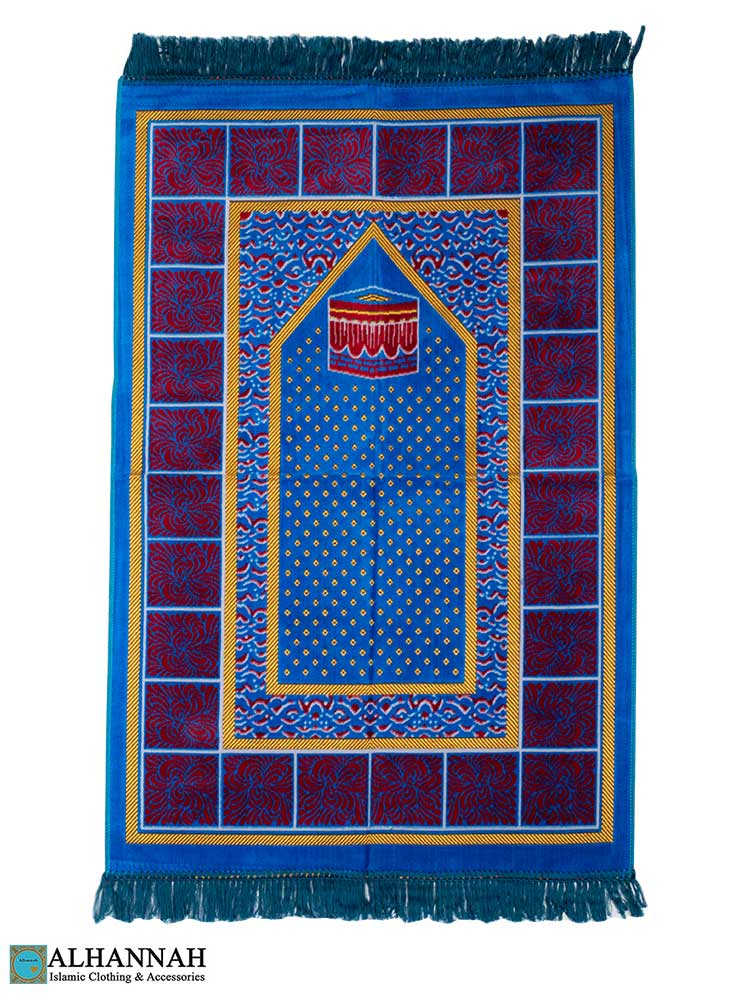 Turkish Prayer Rug with Kaaba - Royal Blue