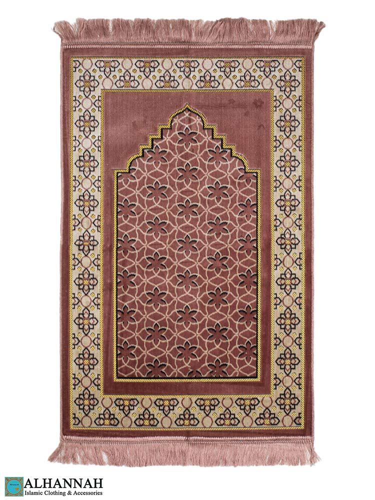 Turkish Prayer Rug with Geometric Design in PInk