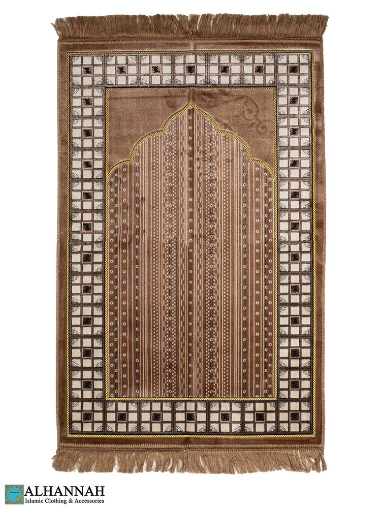 Turkish Prayer Rug with Mosaic Border - Mocha