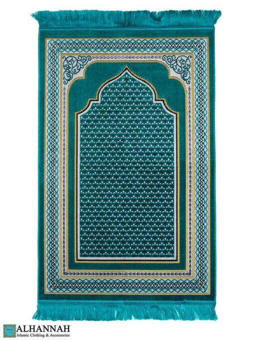 Prayer-Rug-with-Mihrab-Arch-&-Geo-Border---Teal
