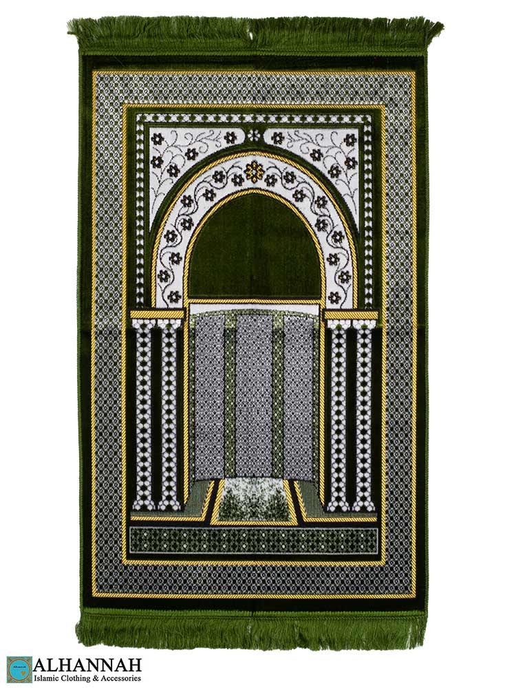 Prayer Rug with Arched Mihrab Design in Pine