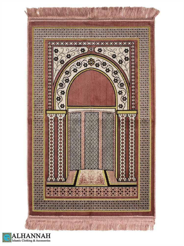 Prayer Rug with Mihrab Design - Pink