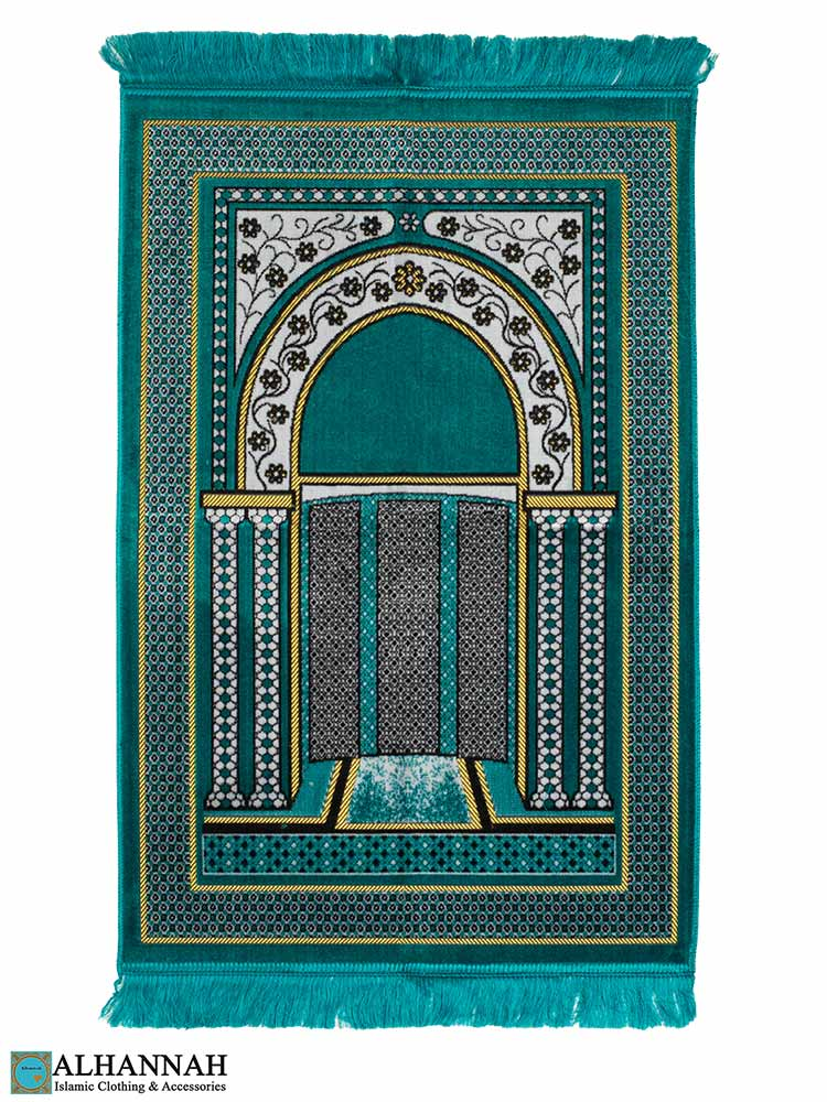 Prayer Rug with Mihrab Design - Teal