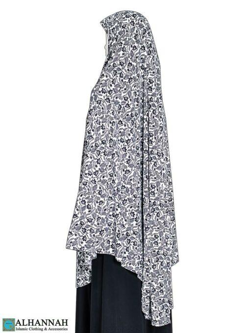 Extra Long Amira Hijab in Black Floral Print