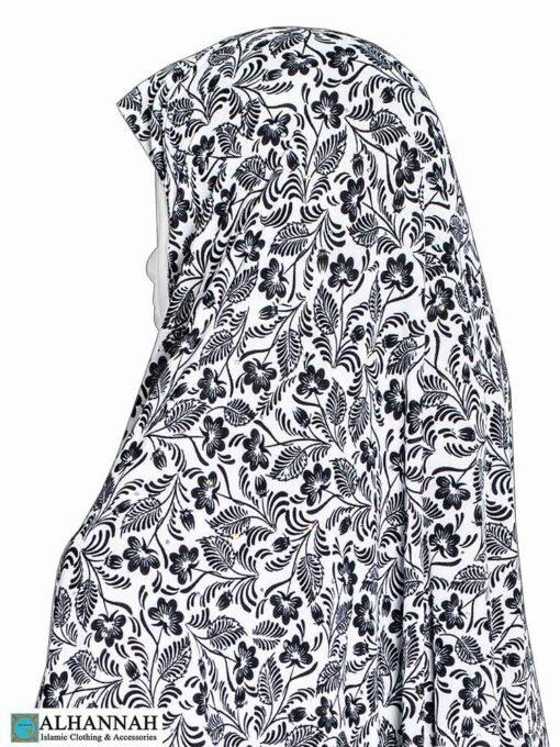 Extra Long Amira Hijab in Black Floral Print Close up