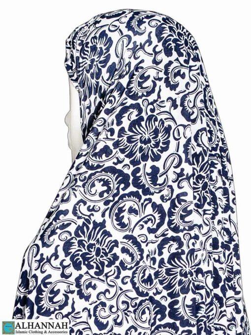 Extra Long Amirah Hijab - Blue Damask Close Up