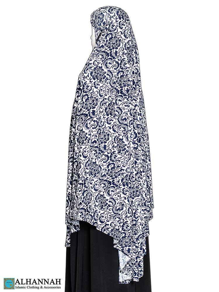 Extra Long Amirah Hijab - Blue Damask
