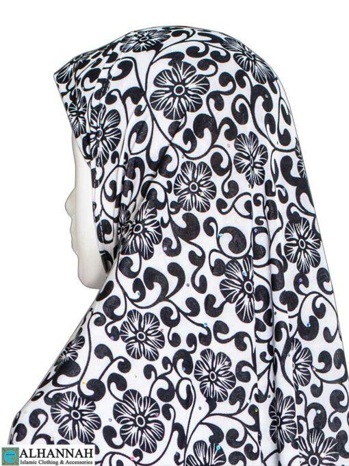 Extra Long Amirah Hijab Petal Vines Print Close Up