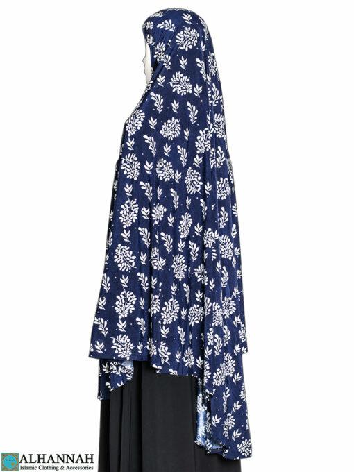 Extra Long Amirah Hijab in Navy Foliage Print