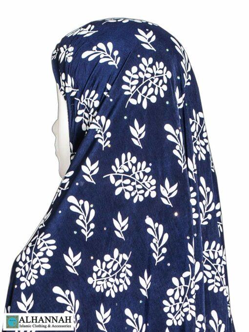 Extra Long Amirah Hijab in Navy Foliage Print Close Up