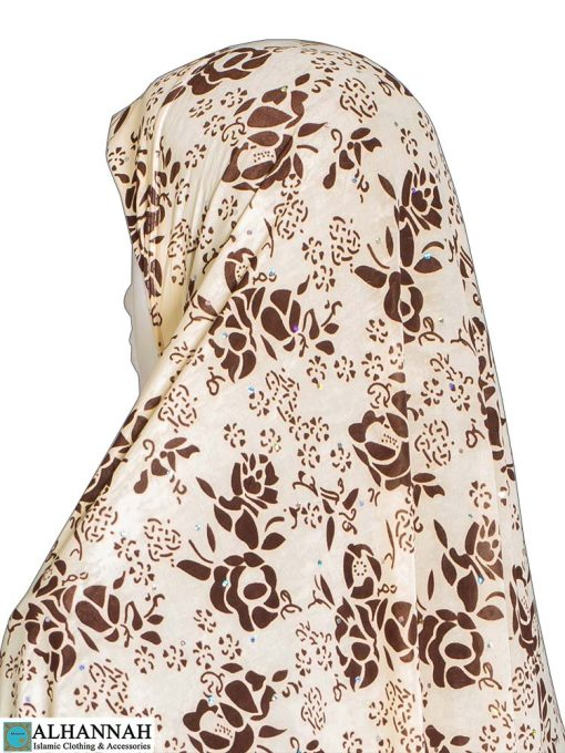 Extra Long Amirah Hijab in Toffee Rose Print Close Up