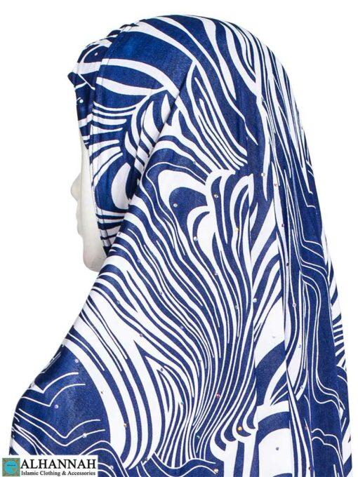 Extra Long Hijab Blue Safari Print Close Up