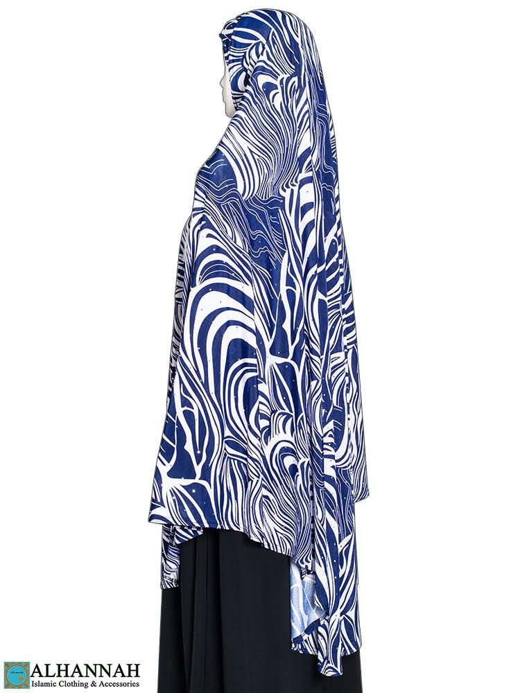 Extra Long Hijab Blue Safari Print