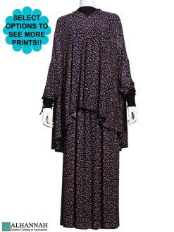 2 Piece Prayer Outfit Black Calico Print