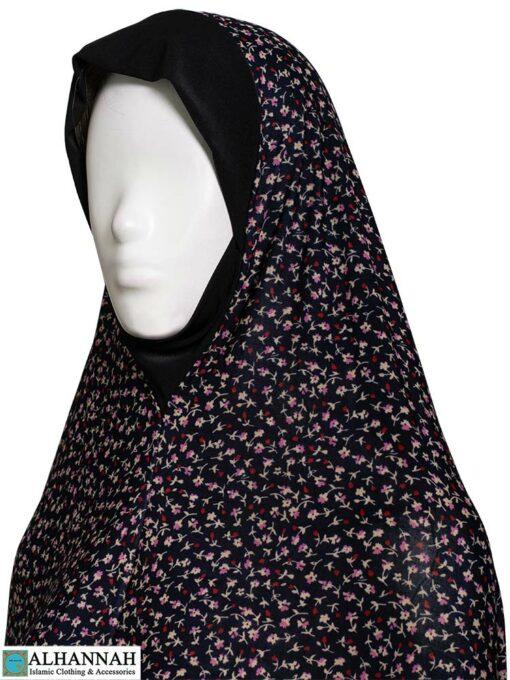 2 Piece Prayer Outfit Black Calico Print Close Up