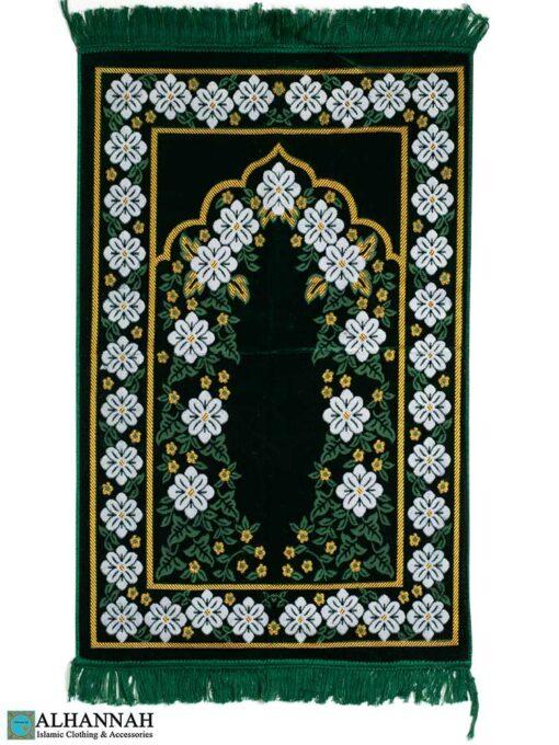 Deluxe Floral Prayer Rug - Emerald