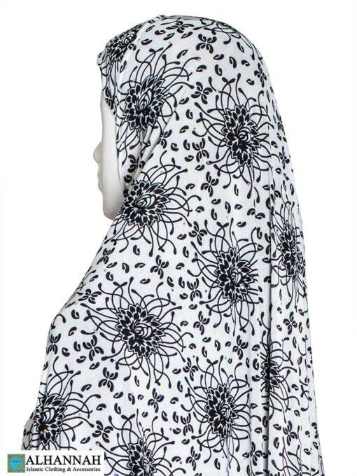 Extra Long Amirah Hijab Waterlily Print Close Up