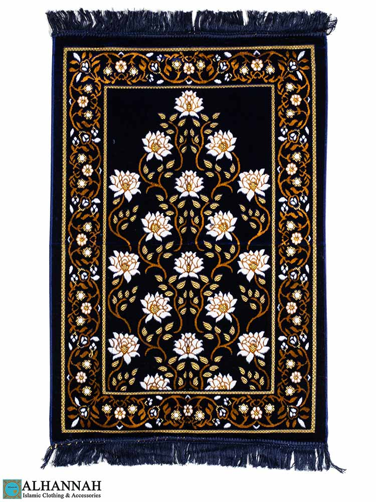 Deluxe Floral Prayer Rug - Navy