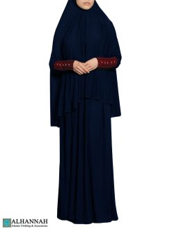 Prayer Outfit with Palestinian Embroidery in Blueberry