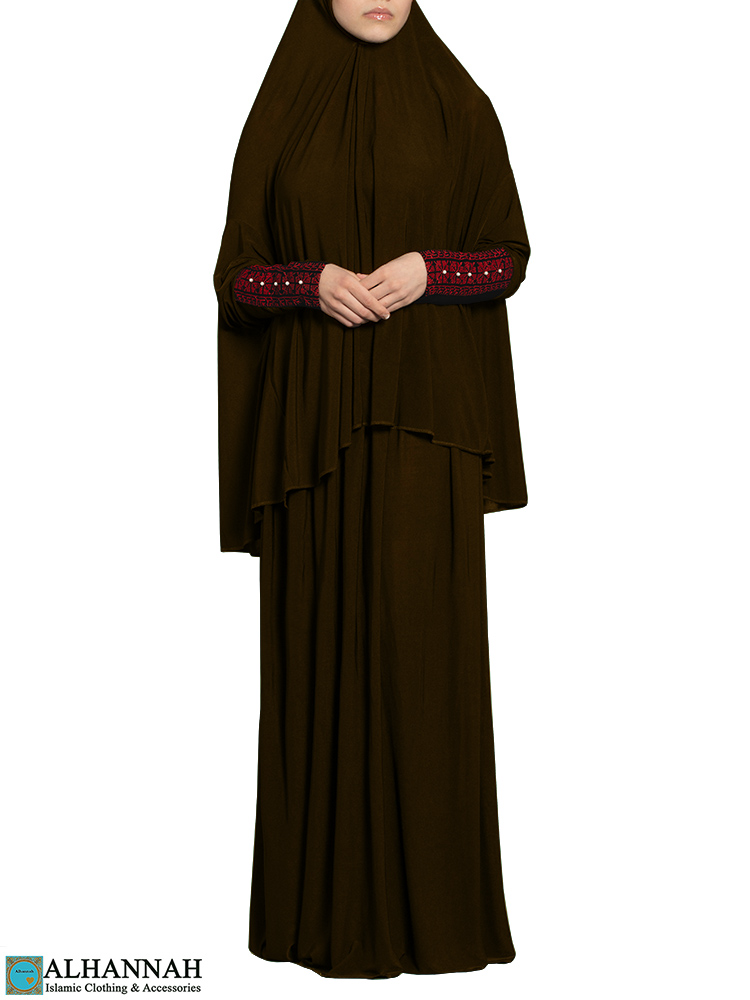 Prayer Outfit with Palestinian Embroidery in Chocolate