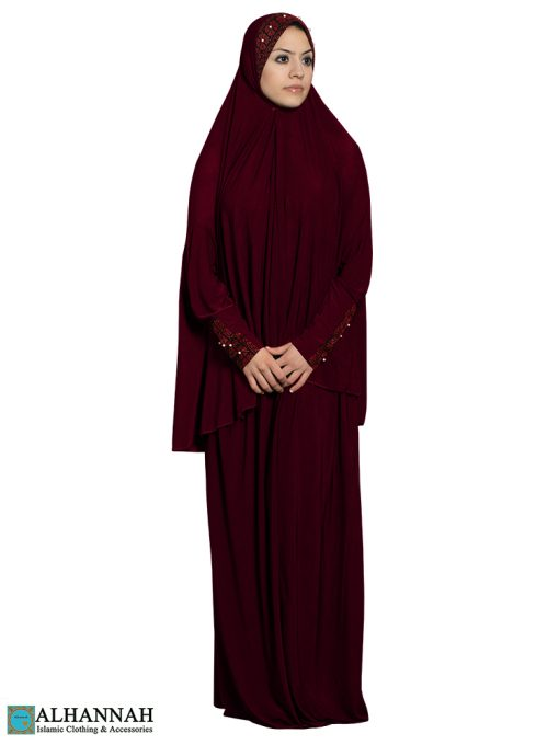 Prayer Outfit with Palestinian Embroidery in Maroon-2.