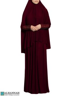 Prayer Outfit with Palestinian Embroidery in Maroon