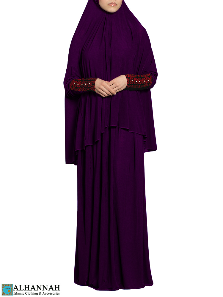 Prayer Outfit with Palestinian Embroidery in Plum