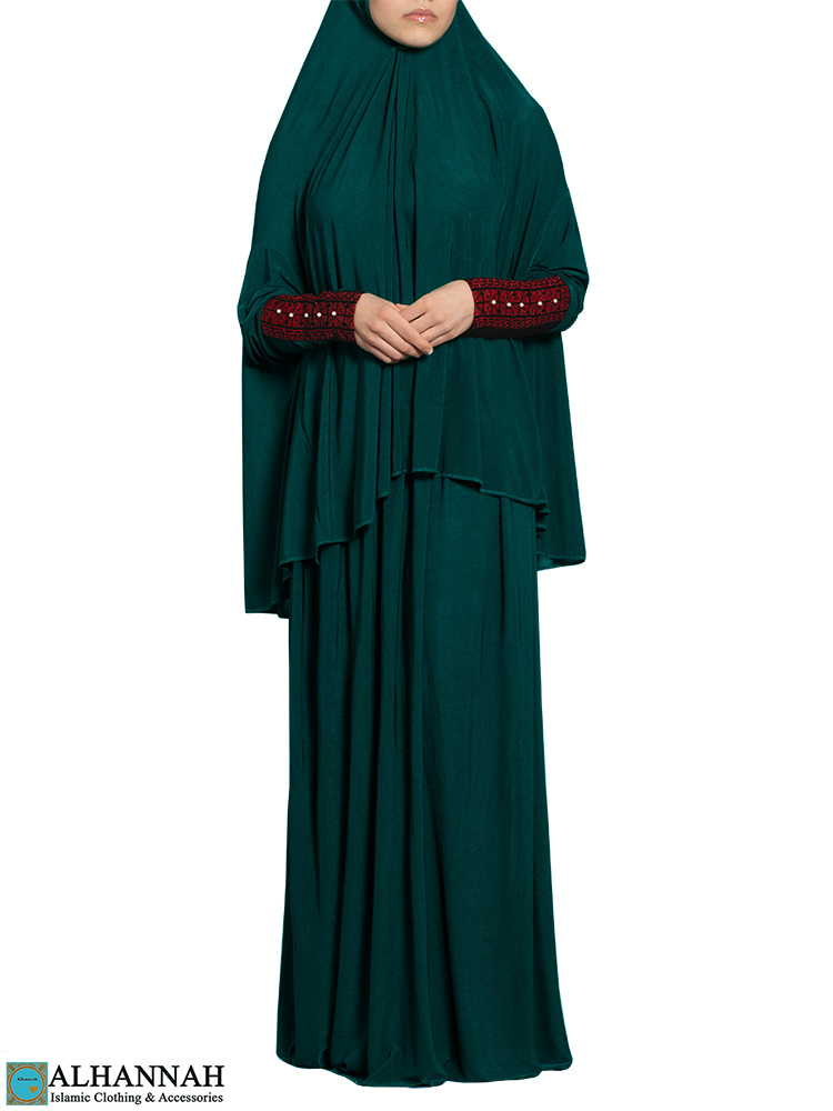 Prayer Outfit with Palestinian Embroidery in Teal