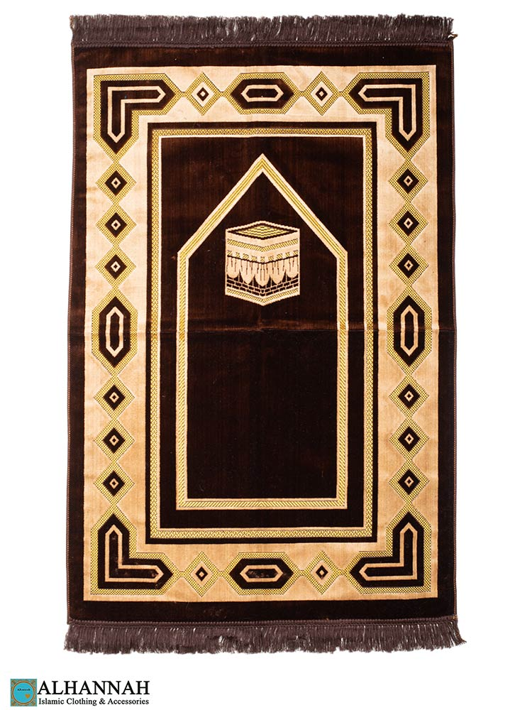 Turkish Prayer Rug Kaaba Design - Brown