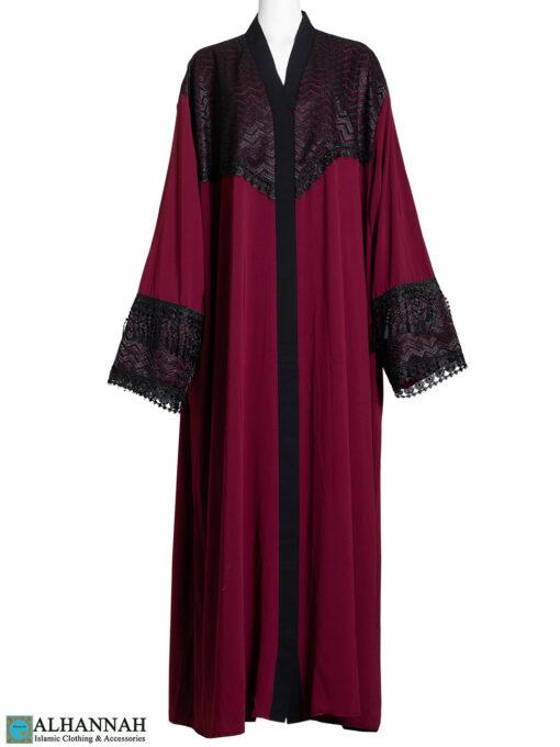Abaya-Lace-Trim Maroon ab800