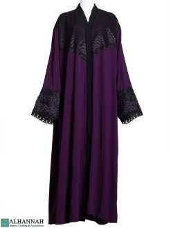 Abaya Lace-Trim Purple ab801 (1)