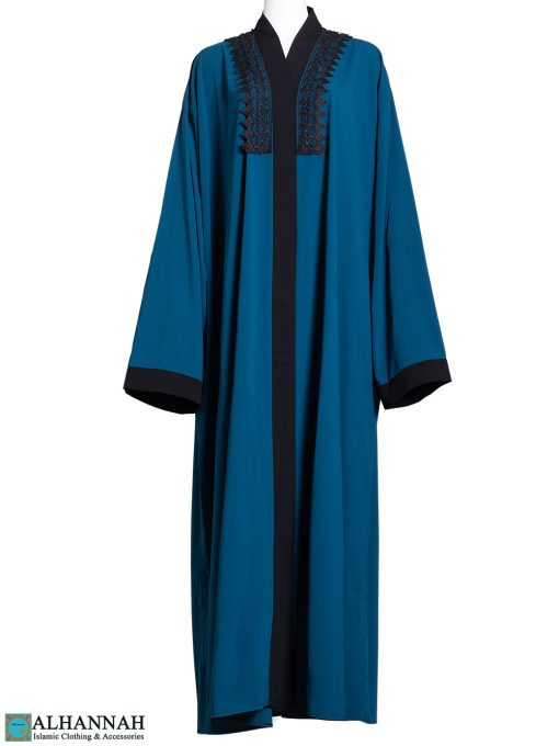 Abaya with Lace Trim in Blue ab802 (1)