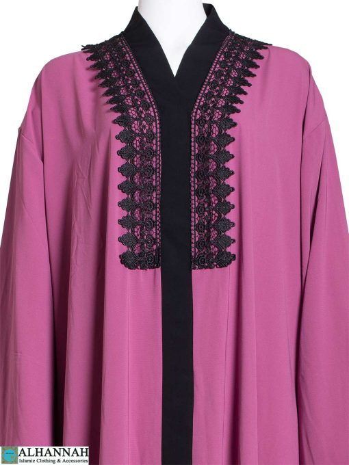 Abaya-with-Lace-Trim-in-Rose-Closeup ab795