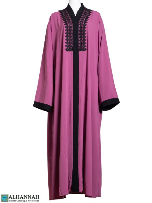 Abaya-with-Lace-Trim in Rose ab795