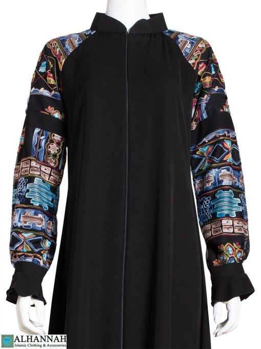 Aqua Ethnic Embroidered Sleeve Abaya ab809