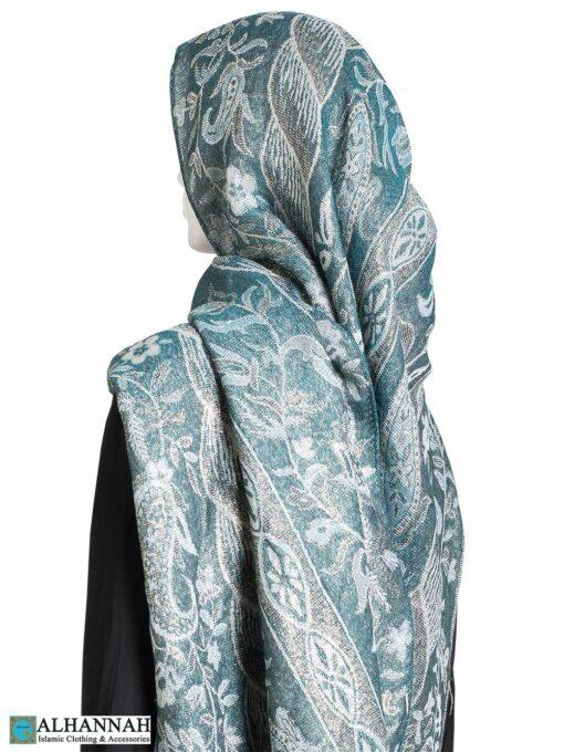 Aqua Floral Tapestry Large Shayla Hijab hi2296