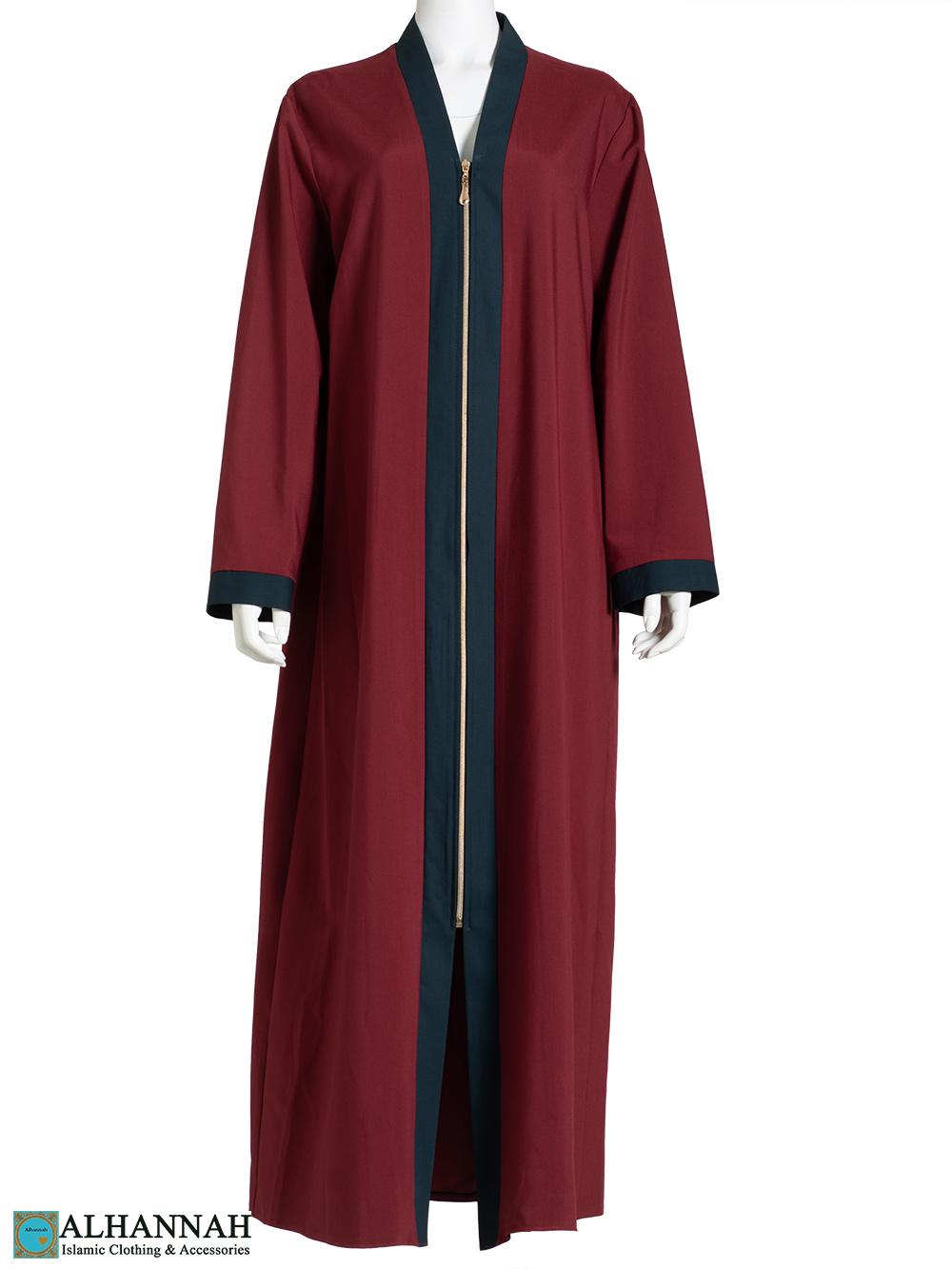 Black-Trim Red Abaya ab792