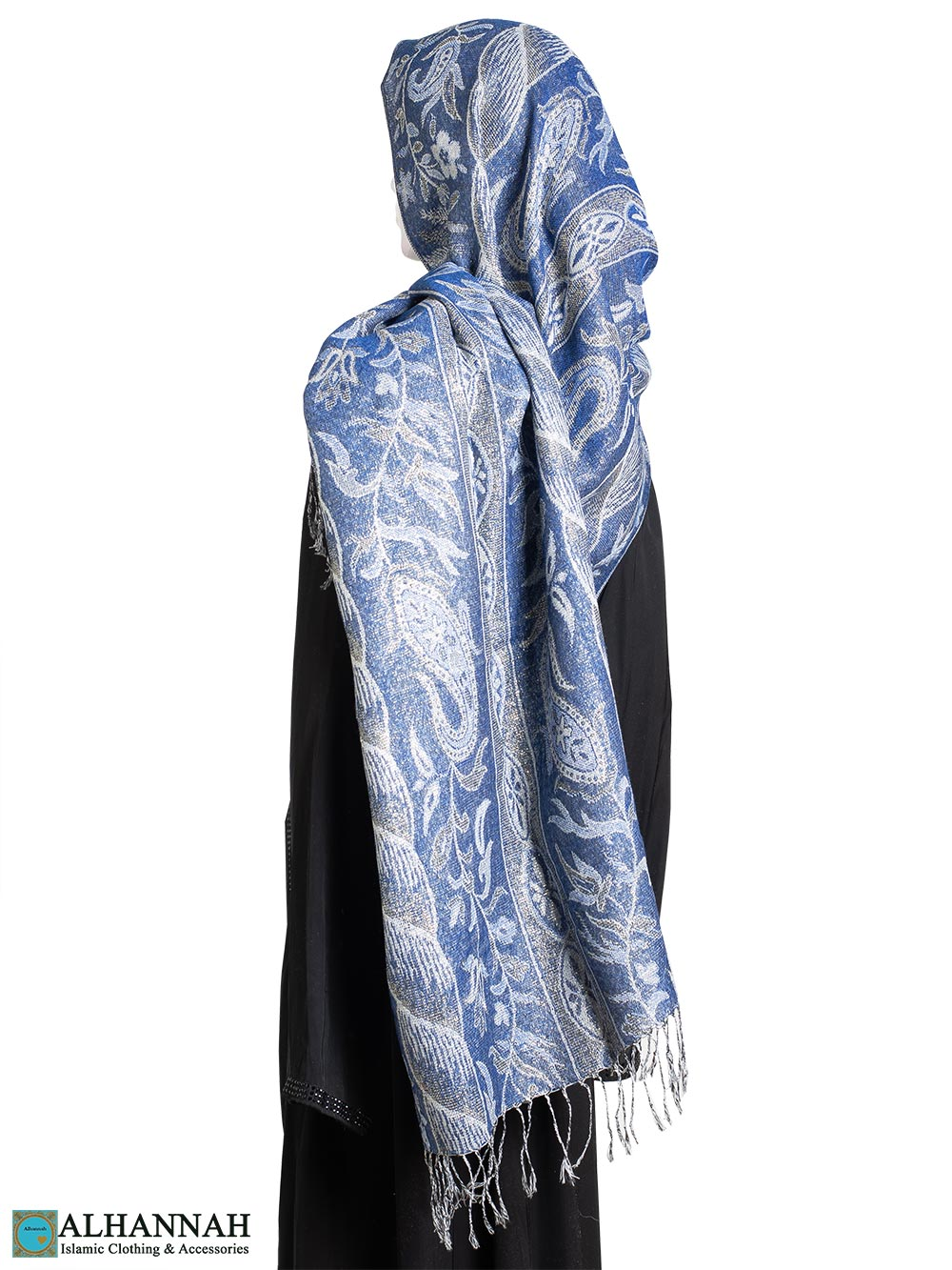 Blue Floral Tapestry Large Shayla Hijab