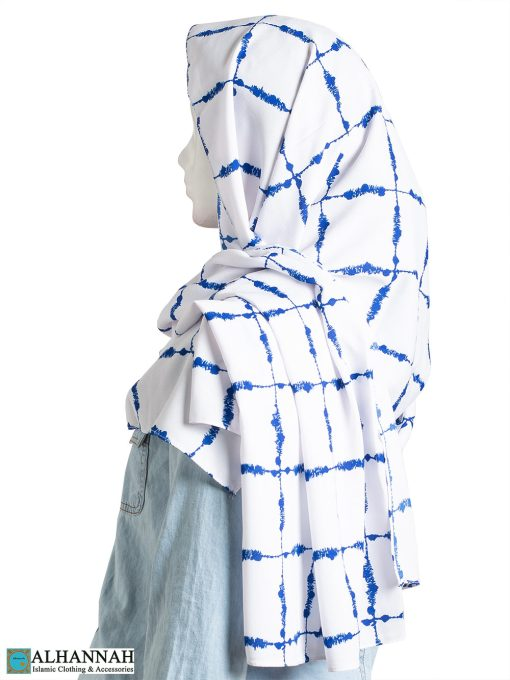 Blue Painted Grid Shayla Hijab hi2304