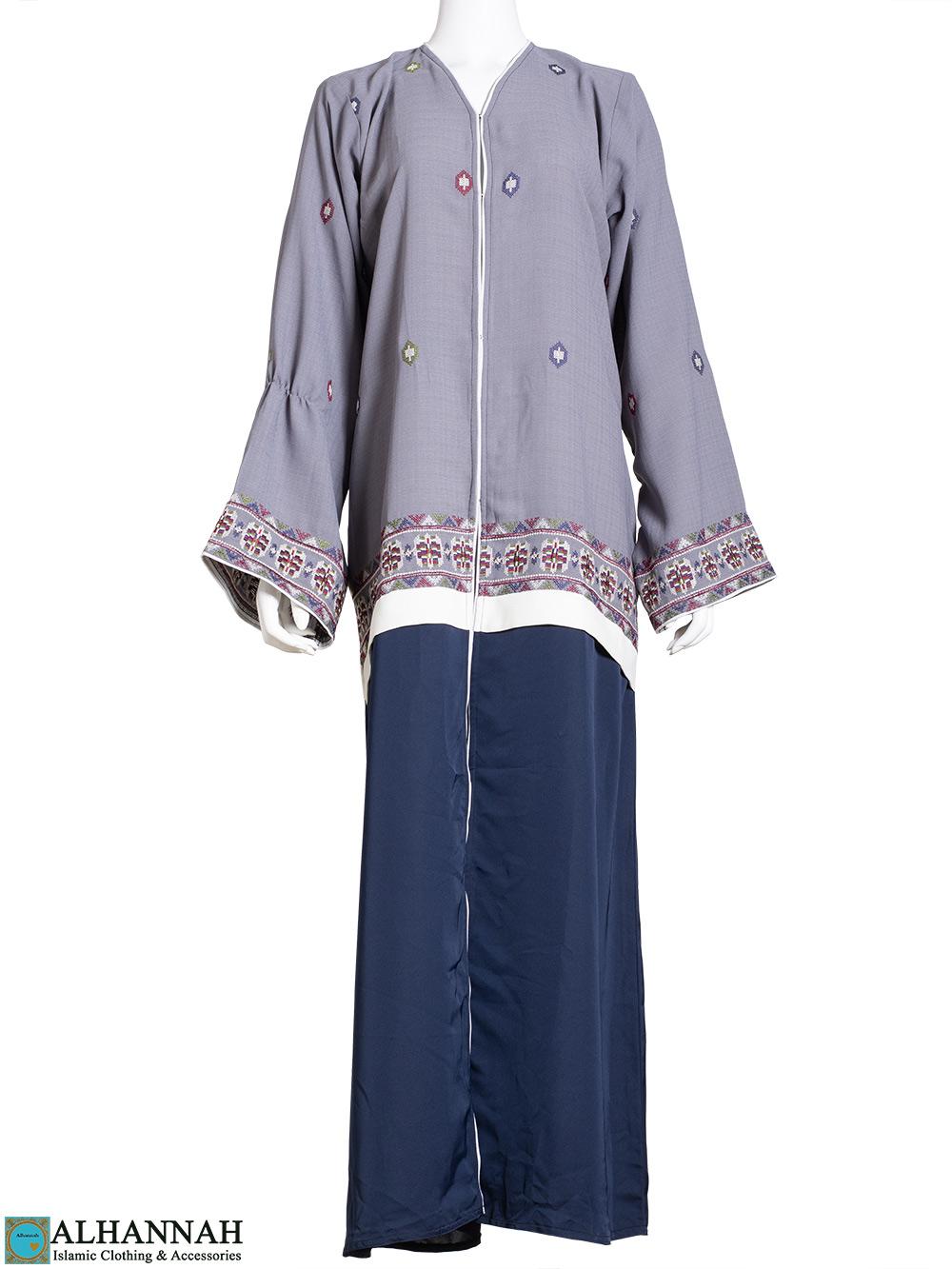 Duotone Ethnic Embroidered Abaya ab774