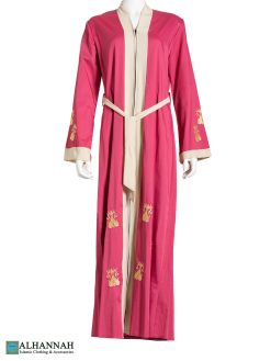 Duotone Paisley Sprout Embroidered Pink Abaya ab791