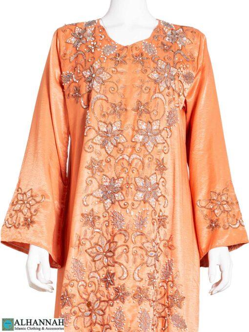 Embellished Floral-Stars Satin Abaya ab772