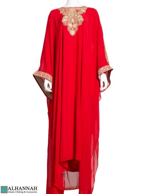 Embroidered Chiffon Overlay Red Abaya ab788