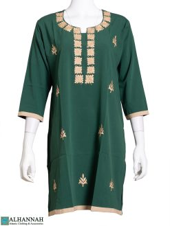 Embroidered Cube Design Green Kurti st613