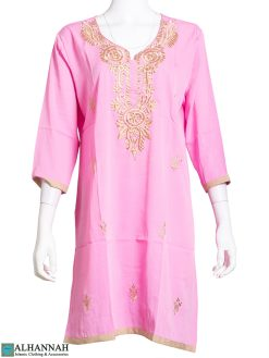 Embroidered Feather Design Pink Kurti st612