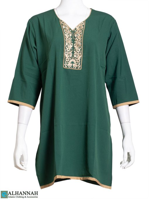 Embroidered Floral Vines Green Kurti st615
