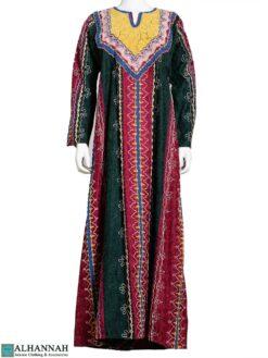 Embroidered Green & Maroon Syrian Thobe ji664