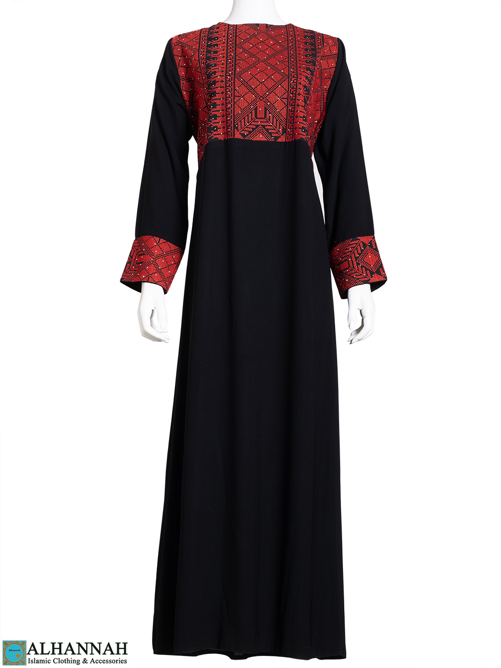 Embroidered Ruby-Red Palestinian Thobe th806