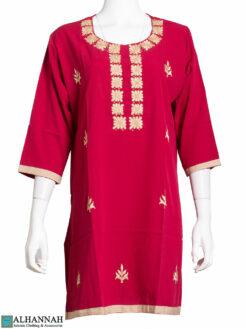 Embroidered Square Design Red Kurti st618