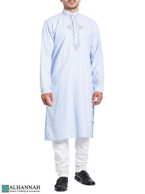 Embroidered Traditional Sky-Blue Kurta Pajama Suit me826